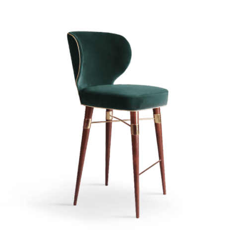 Louis Mid-Century Modern Bar Chair in green Cotton velvet