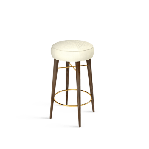 Louis Mid-Century Modern Bar Stool in white linen