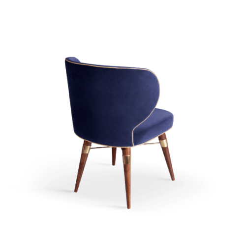Louis Mid-Century Modern Dining Chair in blue cotton velvet