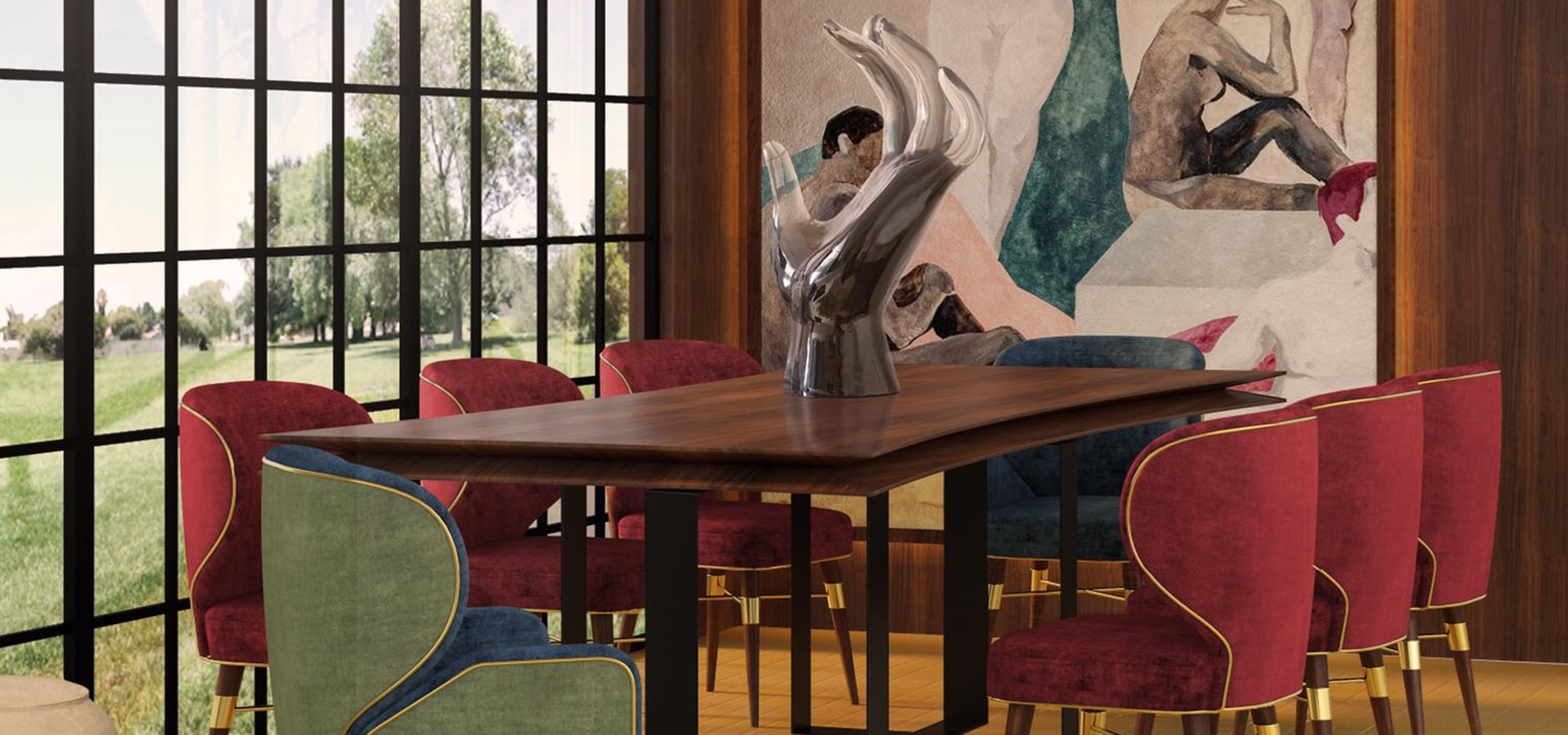 Louis Dining Chair and Louis Dining Chair I with leveza dining table designed by Malabar