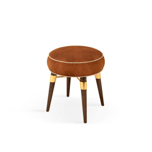 Louis Mid-Century Modern Stool in camel cotton velvet