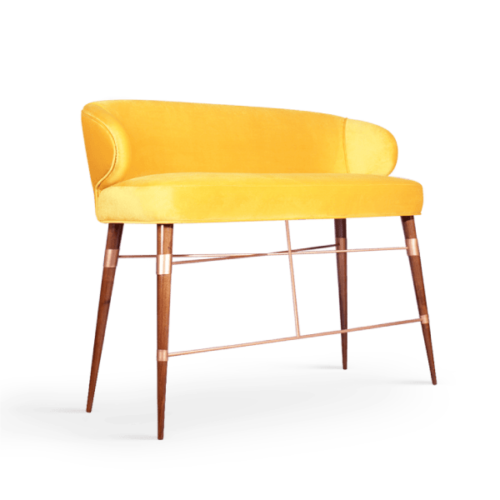 Louis Mid-Century Modern Twin Bar Chair in yellow cotton velvet