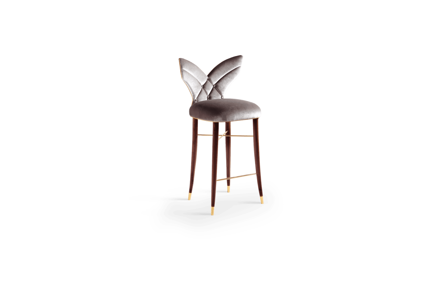 Luna Mid-Century Modern Bar Chair in silver grey velvet with gold piping