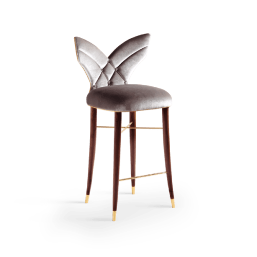 Luna Mid-Century Modern Bar Chair in silver velvet