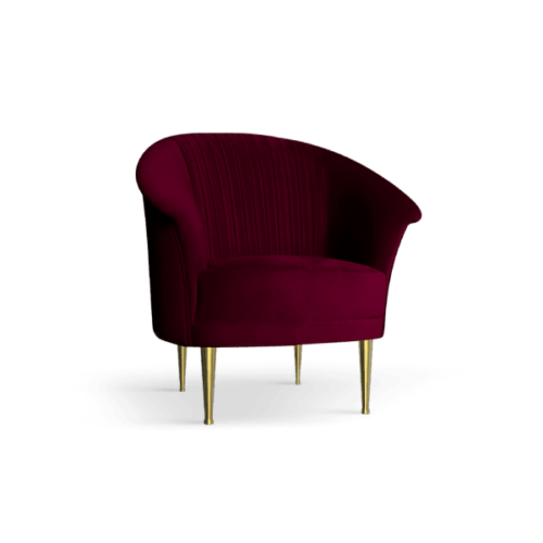 Lupino Mid-Century Modern Armchair in cherry red cotton velvet