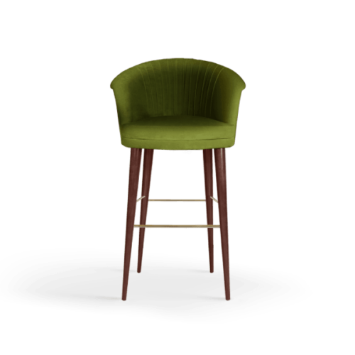 Lupino Mid-Century Modern Bar Chair in green cotton velvet