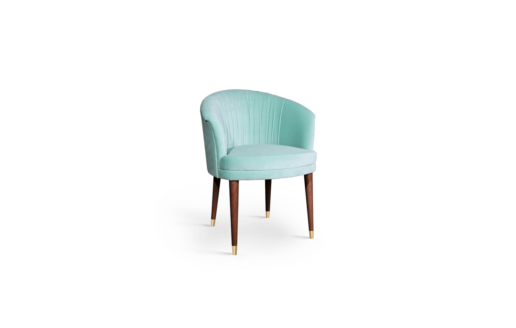 Lupino Mid-Century Modern Dining Chair in green cotton velvet