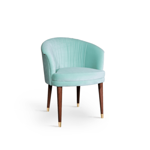 Lupino Mid-Century Modern Dining Chair in mint green cotton velvet