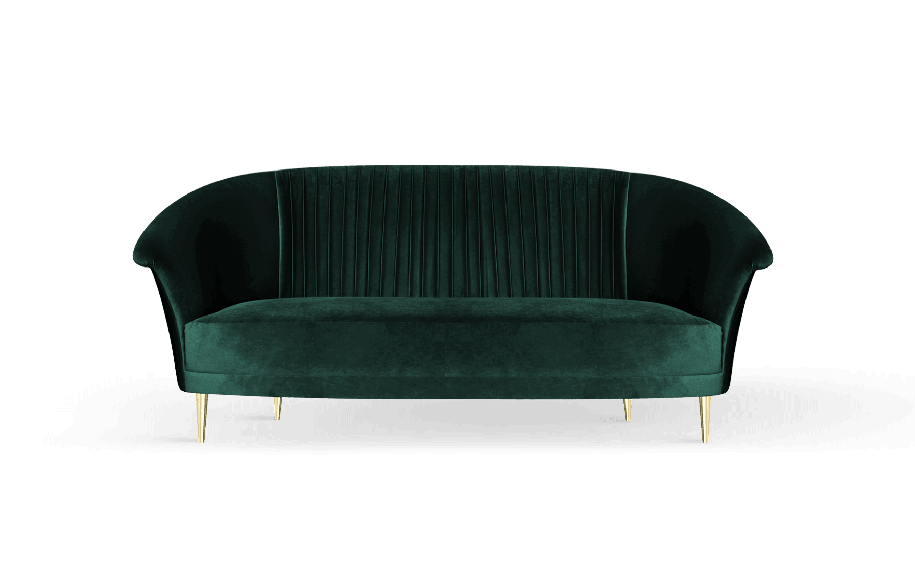 Lupino Mid-Century Modern Sofa in green cotton velvet