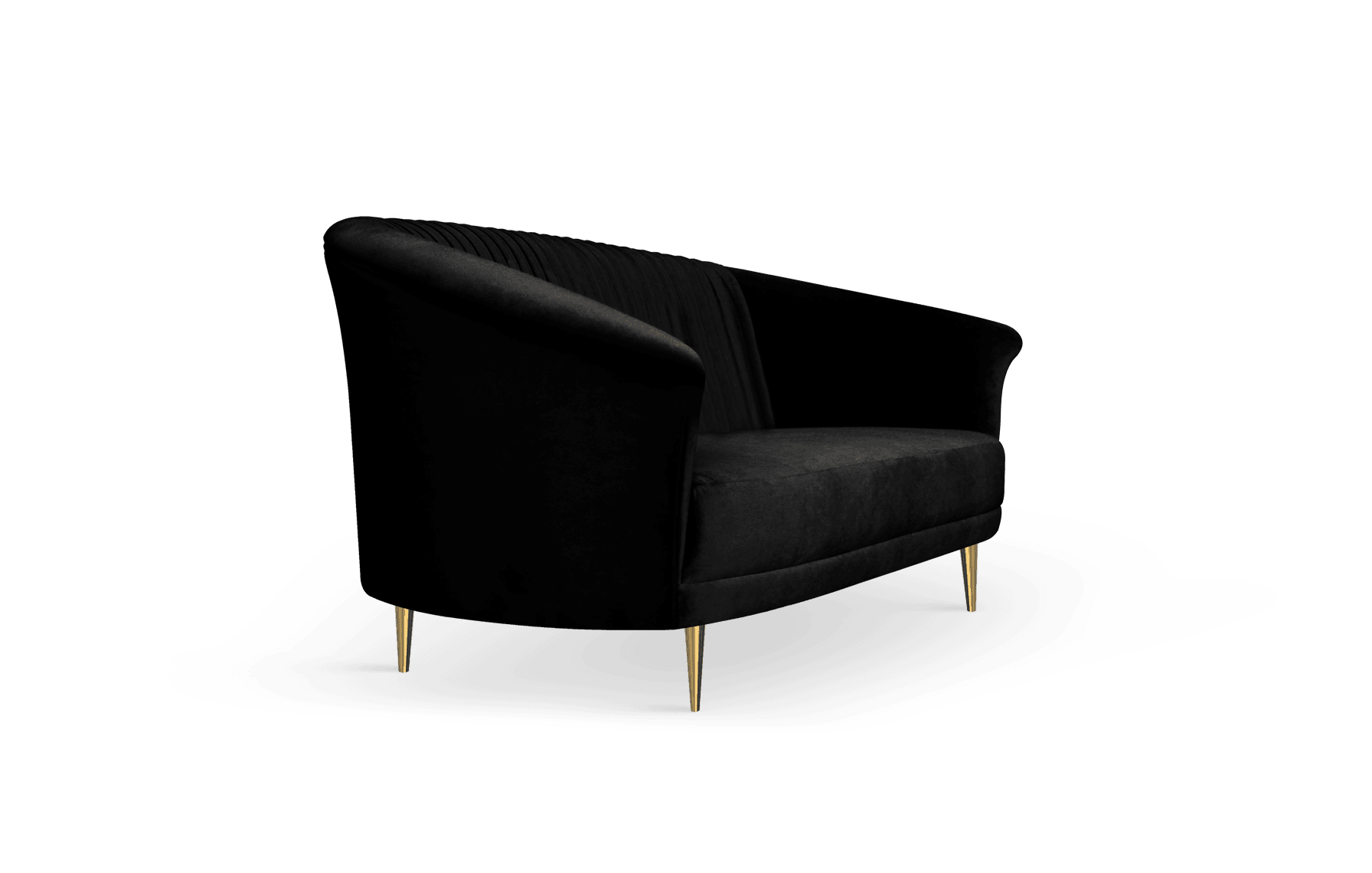Lupino Mid-Century Modern Sofa in black cotton velvet
