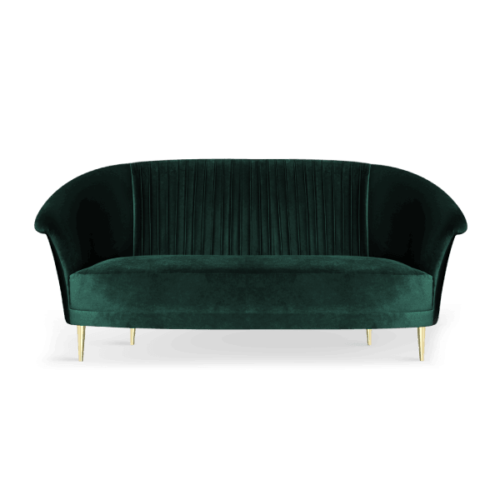 Lupino Mid-Century Modern Sofa in musk green cotton velvet