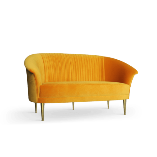 Lupino Mid-Century Modern Twin Seat in yellow cotton velvet