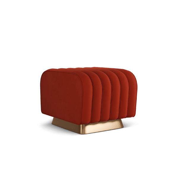 Mamie - Red Upholstered Ottoman