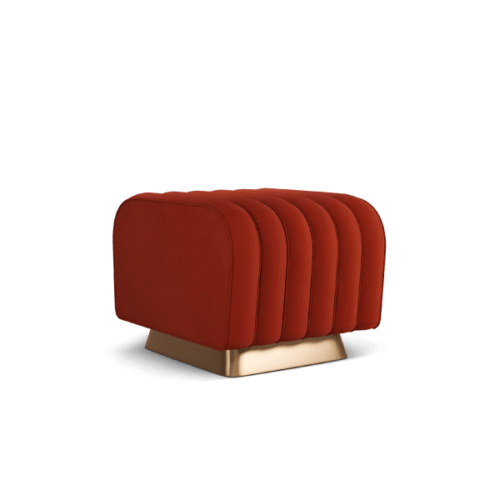 Mamie Mid-Century Ottoman in red cotton velvet