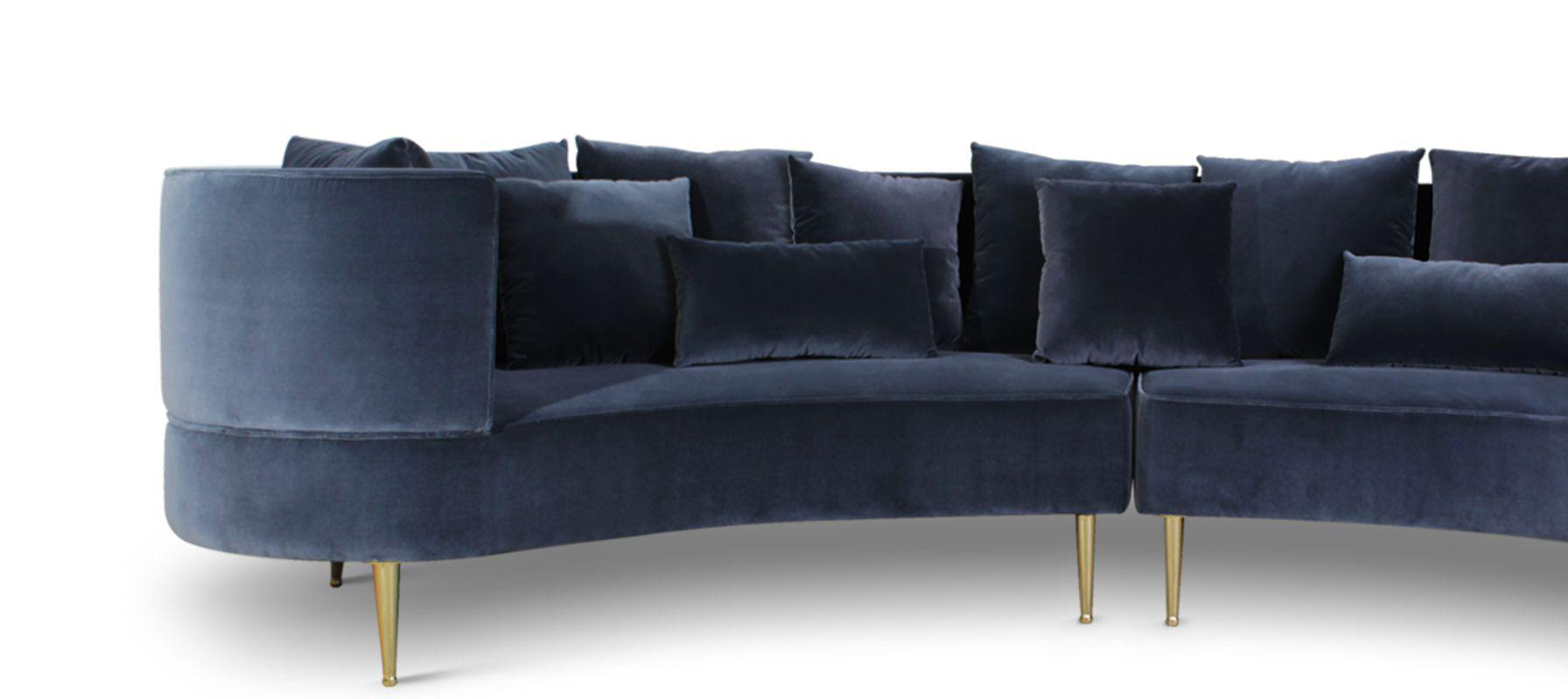 Margret Mid-Century Modern Sofa in blue cotton velvet