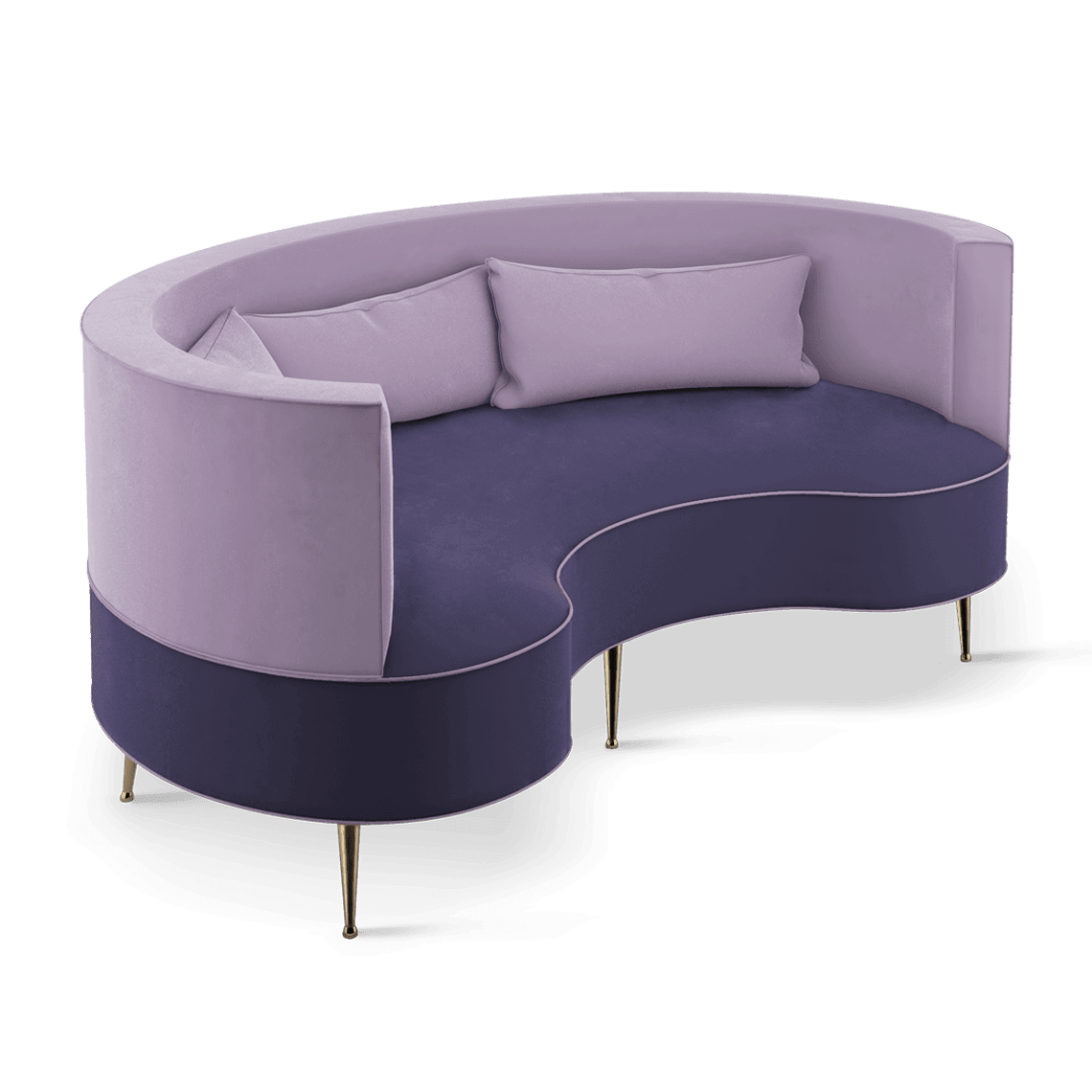 Margret Mid-Century Modern Twin Seat in purple and cassis cotton velvet