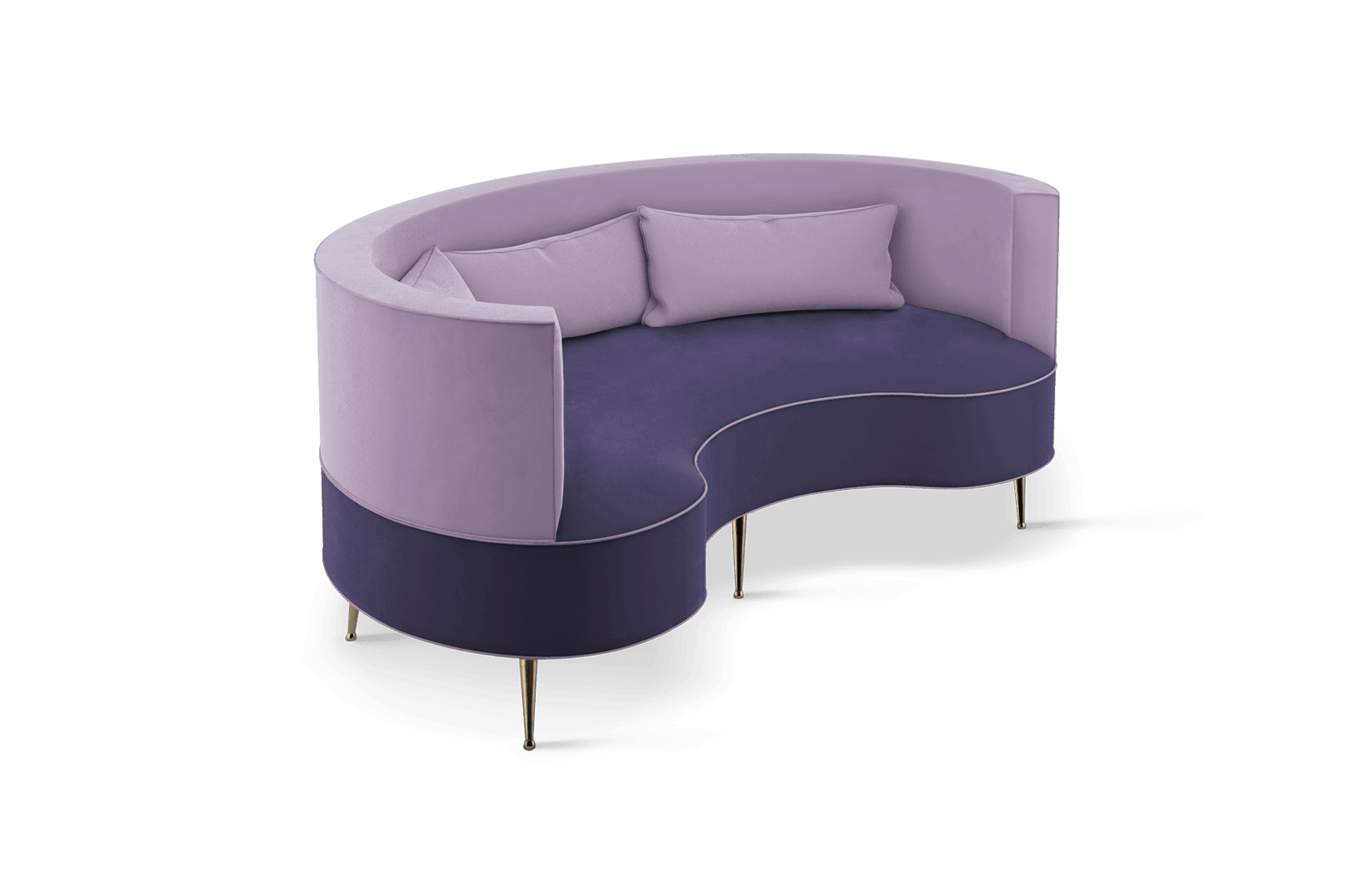 Margret Mid-Century Modern Twin Seat in purple cotton velvet