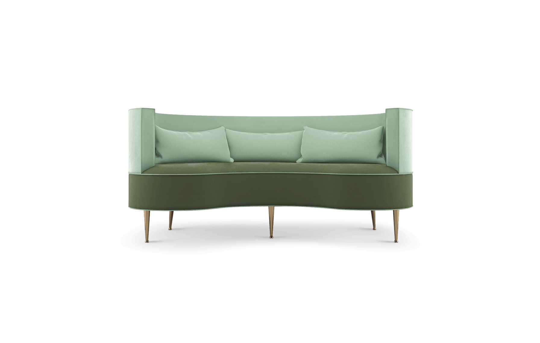 Margret Mid-Century Modern Twin Seat in green cotton velvet