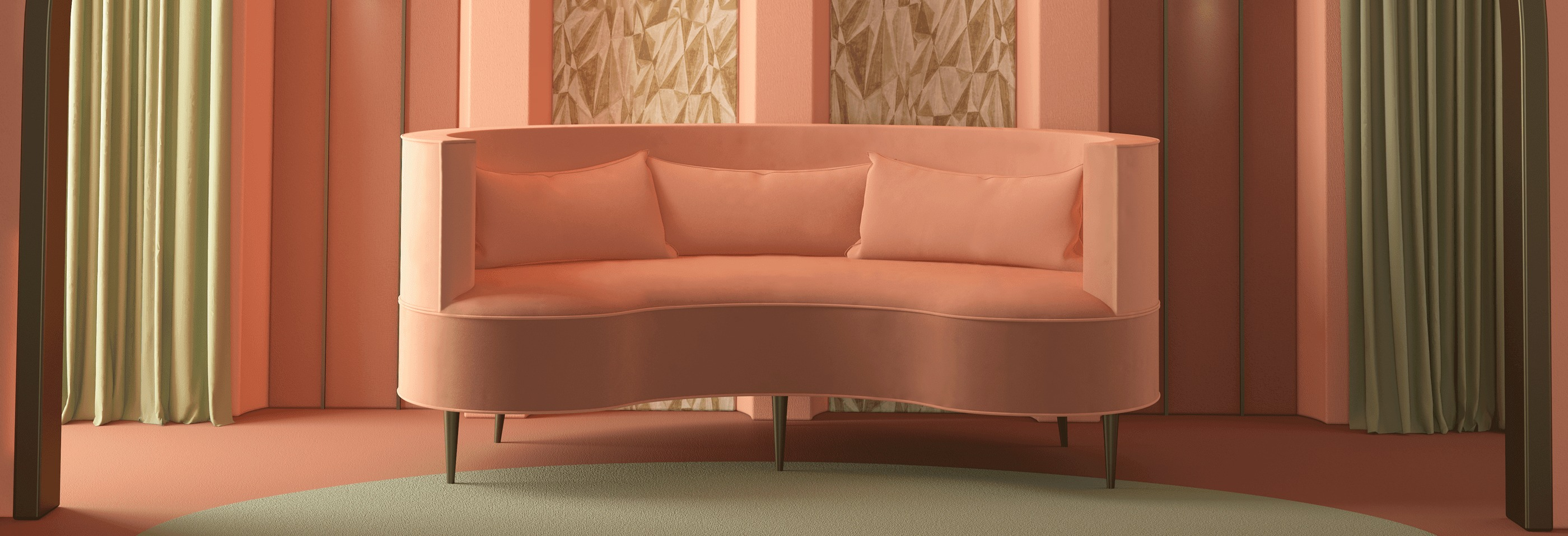 Margret Mid-Century Modern Twin Seat in pink cotton velvet