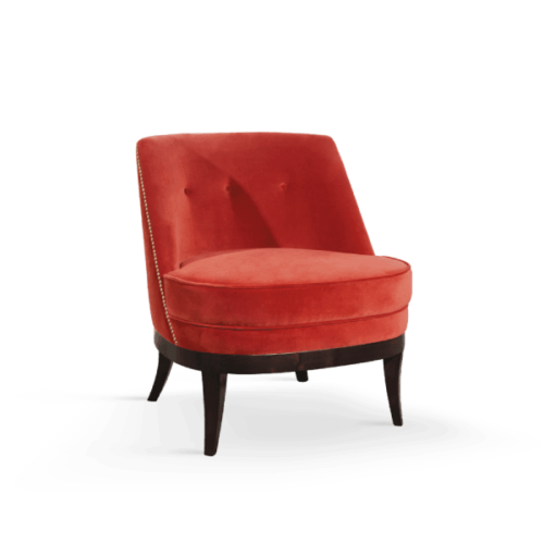 Marilyn Mid-Century Modern Armchair in red cotton velvet