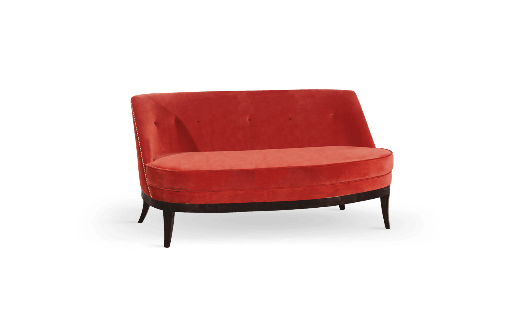 Marilyn Mid-Century Modern Twin Seat in living coral cotton velvet