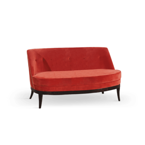 Marilyn Mid-Century Modern Twin Seat in orange cotton velvet