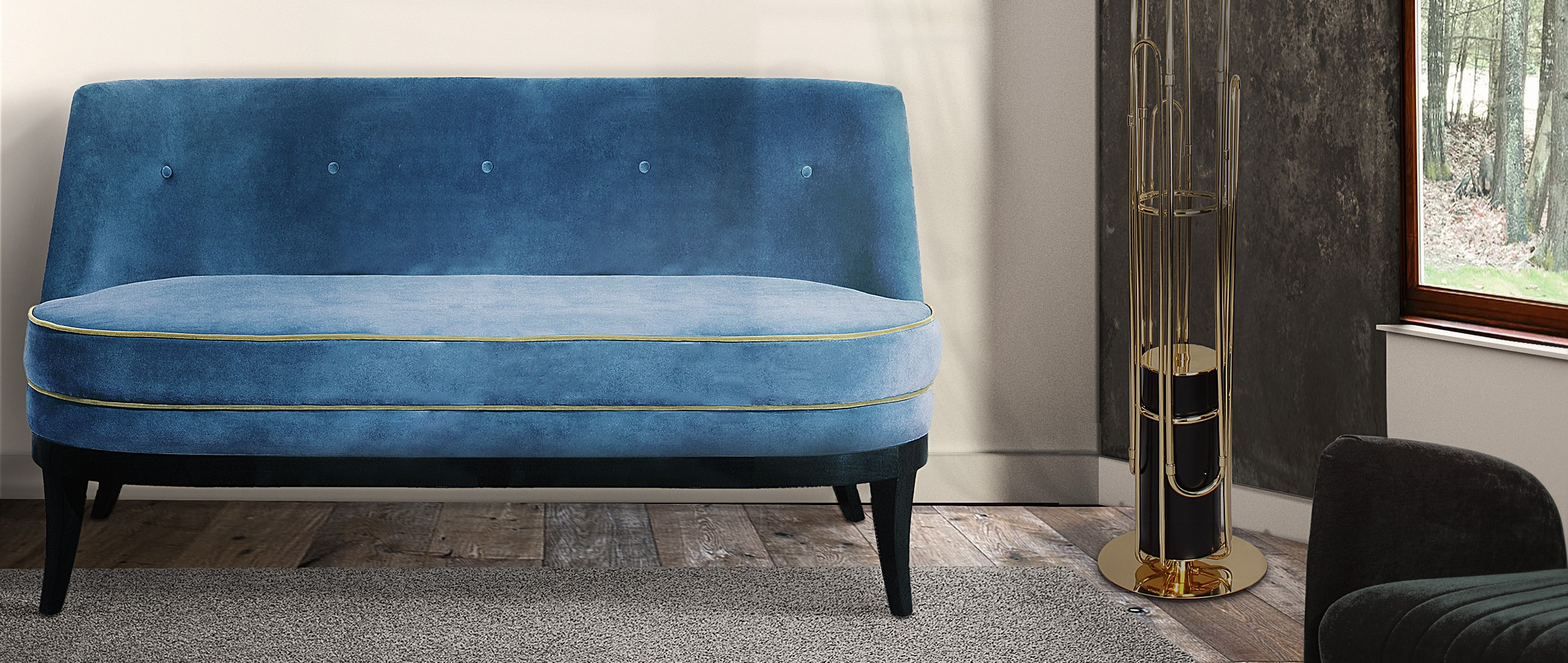 Marylin twin seat in blue cotton velvet