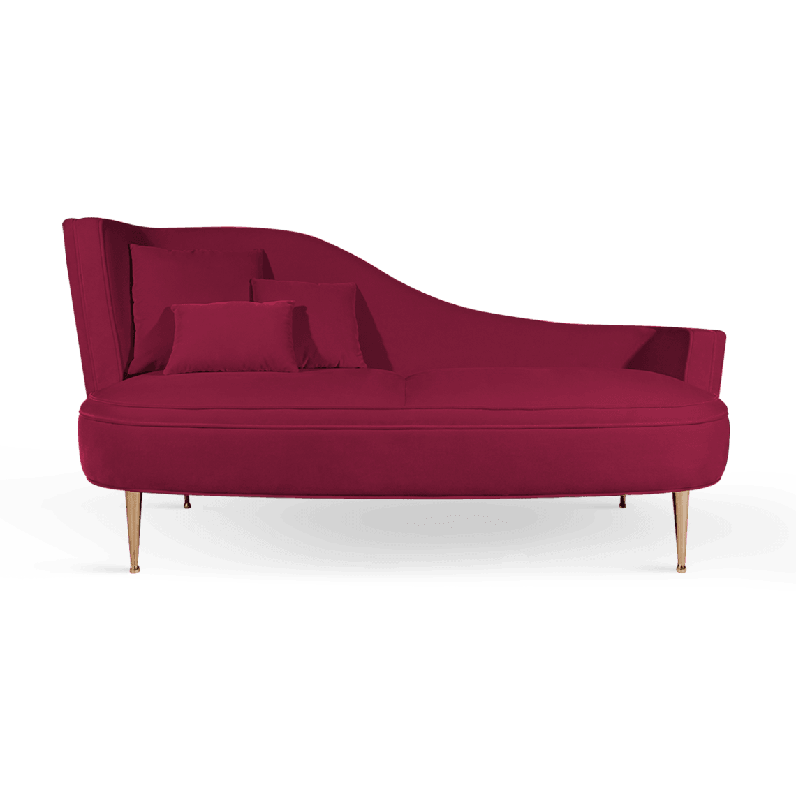 Martine Mid-Century Modern Love Seat in raspberry cotton velvet