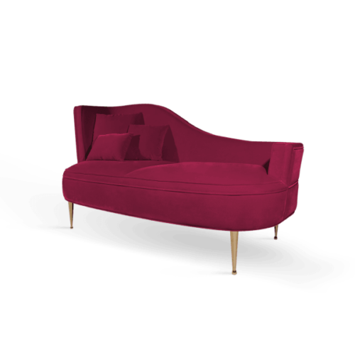 Martine Mid-Century Modern Love Seat in raspberry red cotton velvet