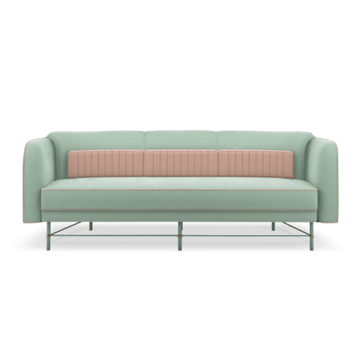 Natalie Mid-Century Modern Sofa in green and pink cotton velvet with pink pipping and details