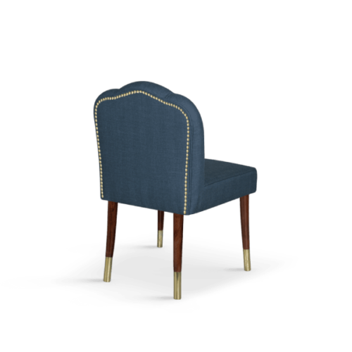 Simone Mid-Century Modern Dining Chair in Windsor Blue Velvet