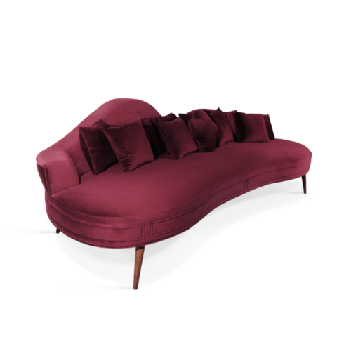 Swanson Mid-Century Modern Sofa in wine red cotton velvet