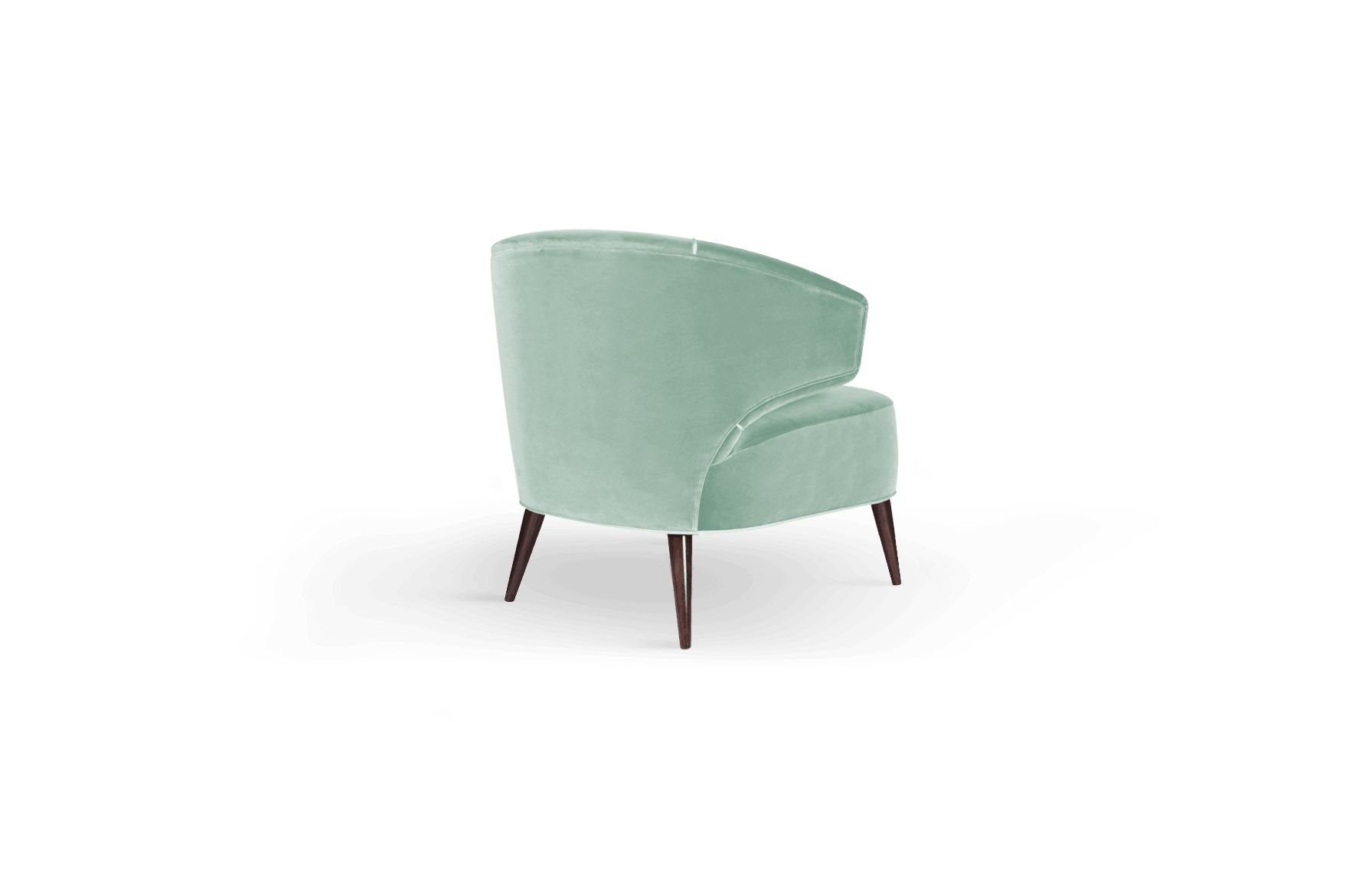 Tippi Mid-Century Modern Armchair in green cotton velvet