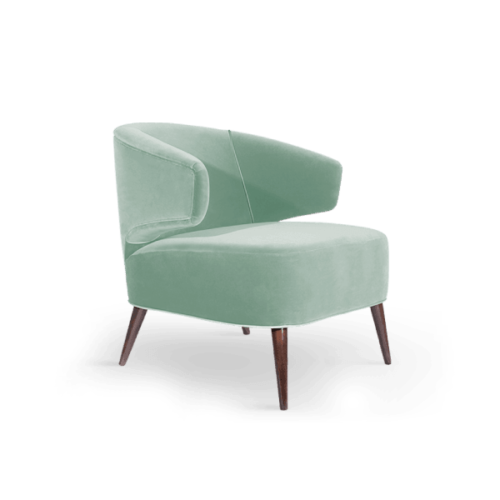 Tippi Mid-Century Modern Armchair in lime green cotton velvet