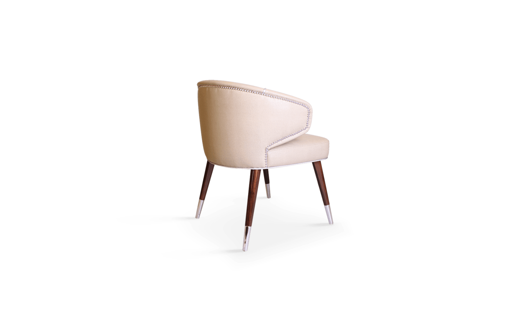 Tippi Mid-Century Modern Dining Chair in Pink Leather