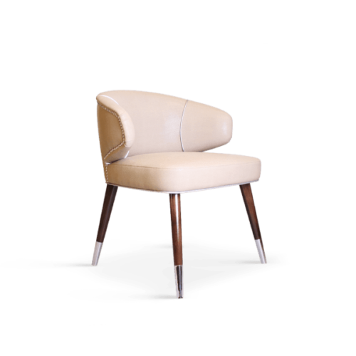 Tippi Mid-Century Modern Dining Chair in soft Pink Leather