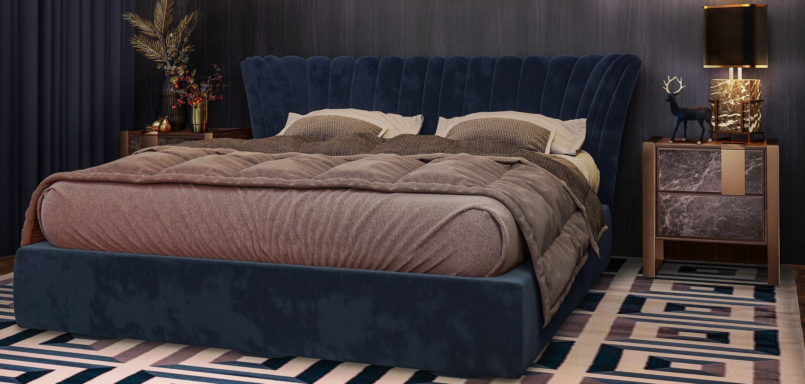 Valerie Mid-Century Modern Bed with classic blue linen