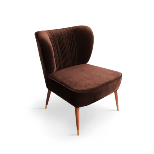 Tippi Mid-Century Modern Armchair in brown cotton velvet