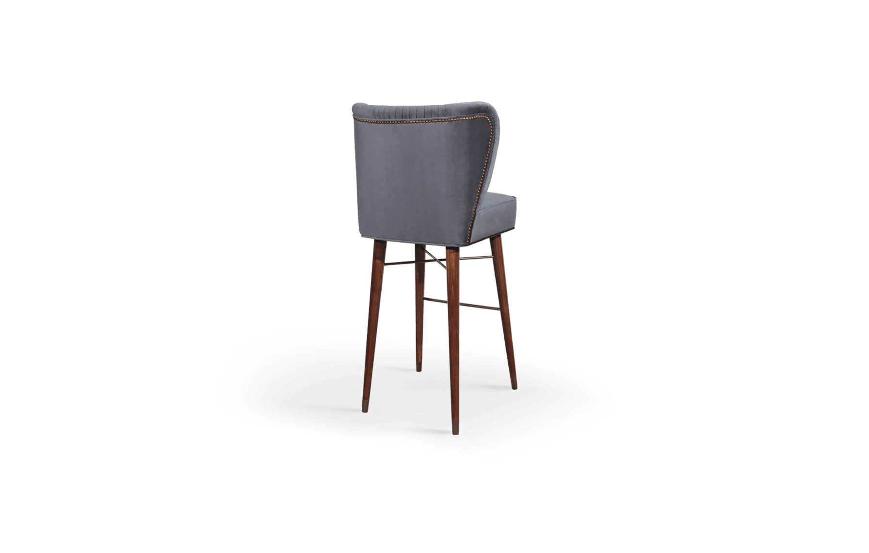 Visconti Mid-Century Modern Bar Chair in grey cotton velvet