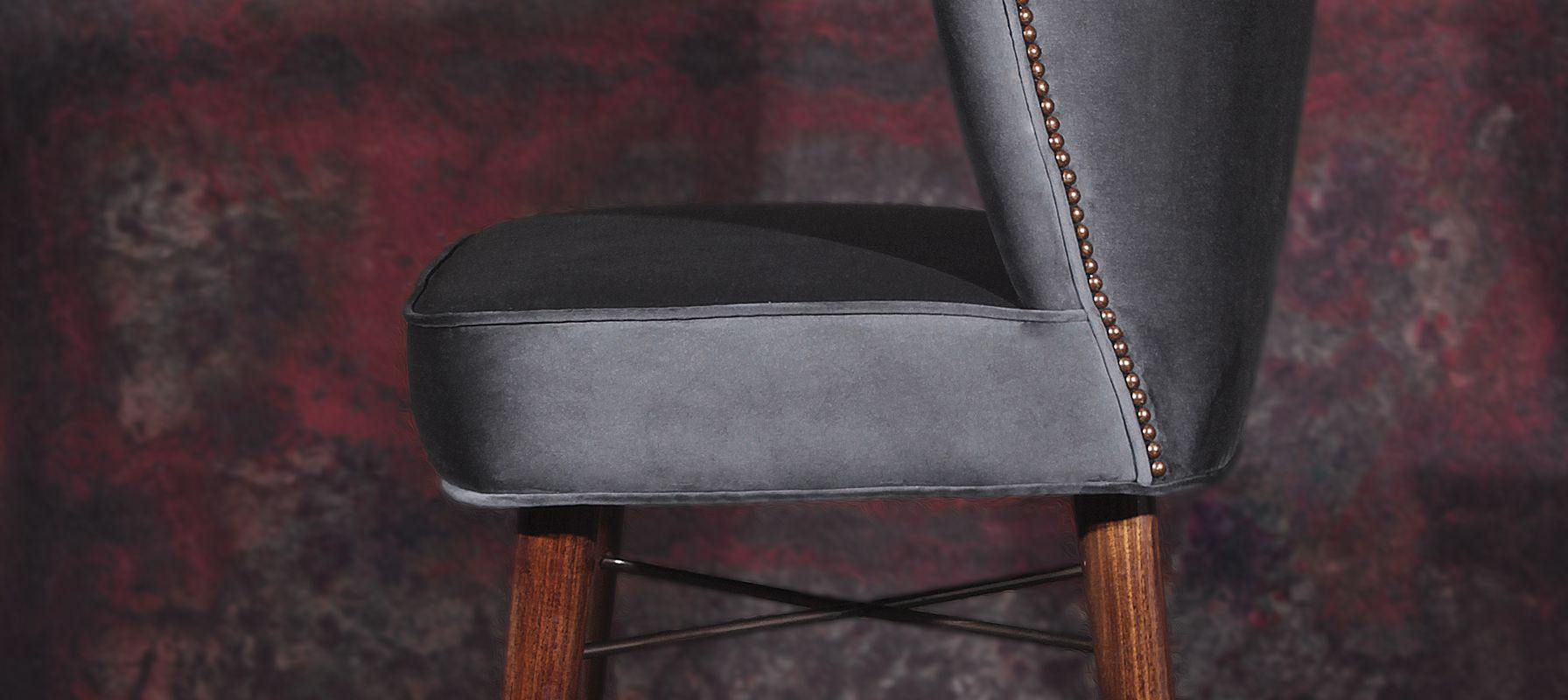 Visconti Mid-Century Modern Bar Chair in grey leather
