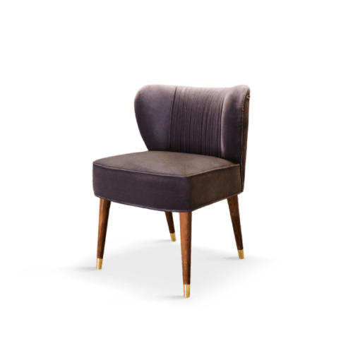 Visconti Mid-Century Modern Dining Chair in purple cotton velvet