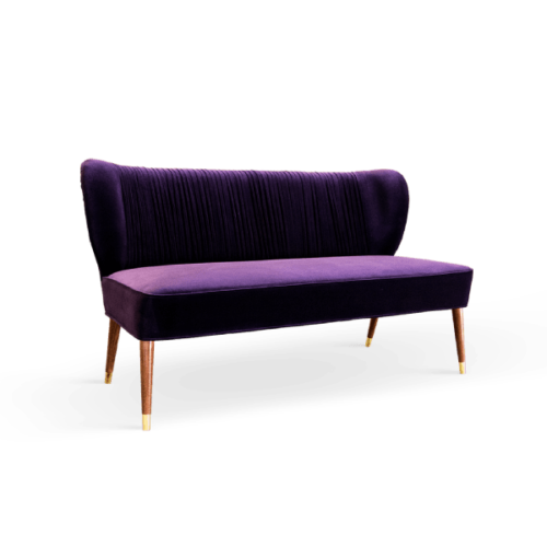 Visconti Mid-Century Modern Twin Seat in purple cotton velvet