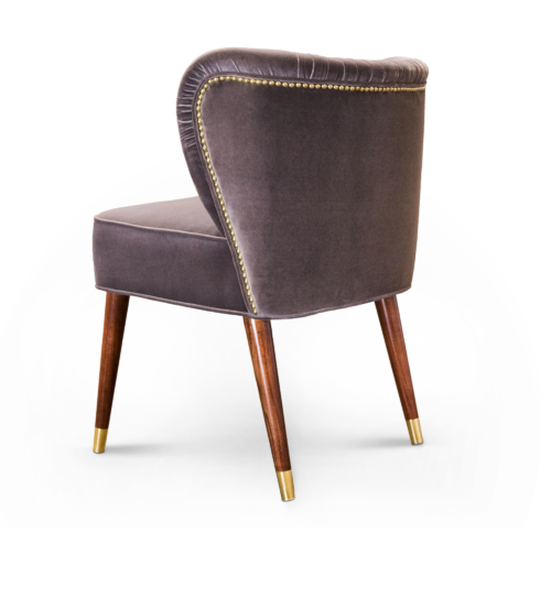 Visconti Mid-Century Modern Dining Chair in brown cotton velvet