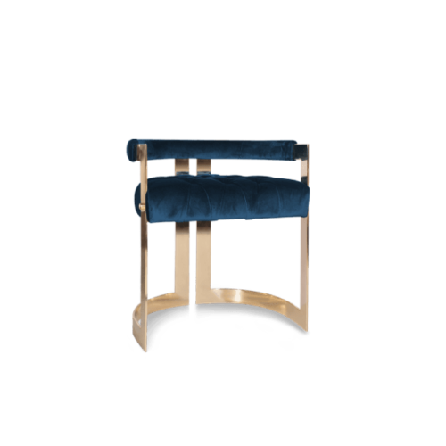 Winfrey Mid-Century Modern Dining Chair in prussian blue cotton velvet